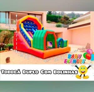 Tobogã Inflável para Locação em Festa Infantil Duplo